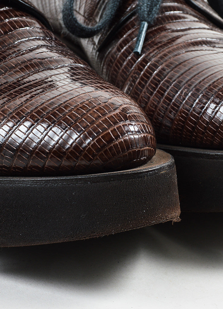 Brunello Cucinelli Brown Lizard Leather Lace Up Treaded Platforms Detail