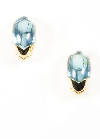 18K Yellow Gold and Blue Topaz Bulgari Clip On Huggie Earrings Frontview