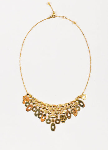 "Bvlgari 18K Yellow Gold Geometric ""Lucea Collection"" Chandelier Bib Necklace Frontview"
