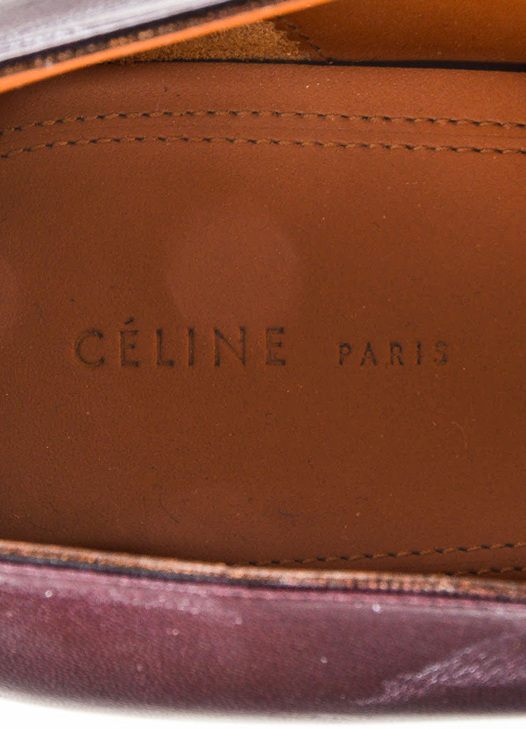 Celine Burgundy Red and Navy Blue Leather and Snakeskin Pointed Flat Loafers Brand