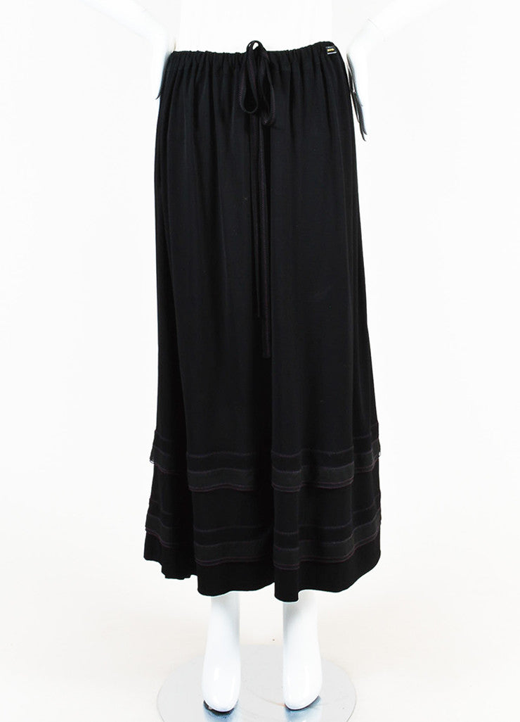 Chanel Black Jersey Ruffle Hem Drawstring Maxi Peasant Skirt Frontview