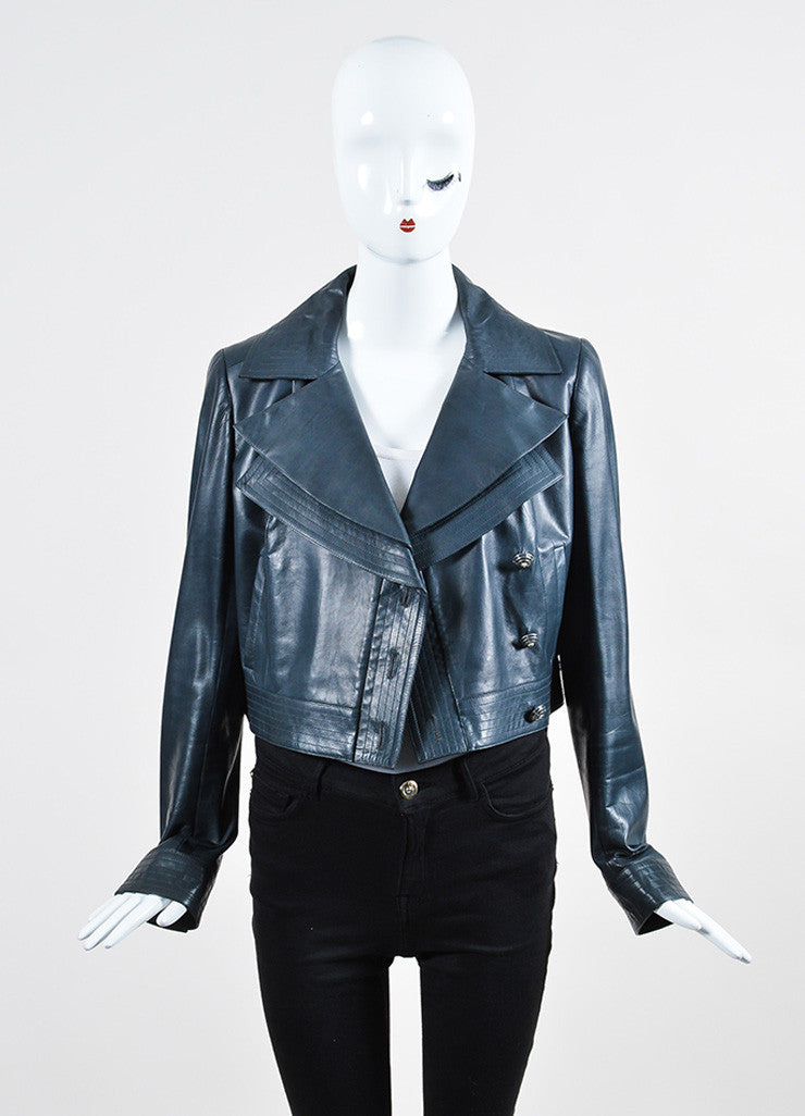 Blue-Grey Chanel Calf Leather Double Lapel Cropped Jacket Frontview