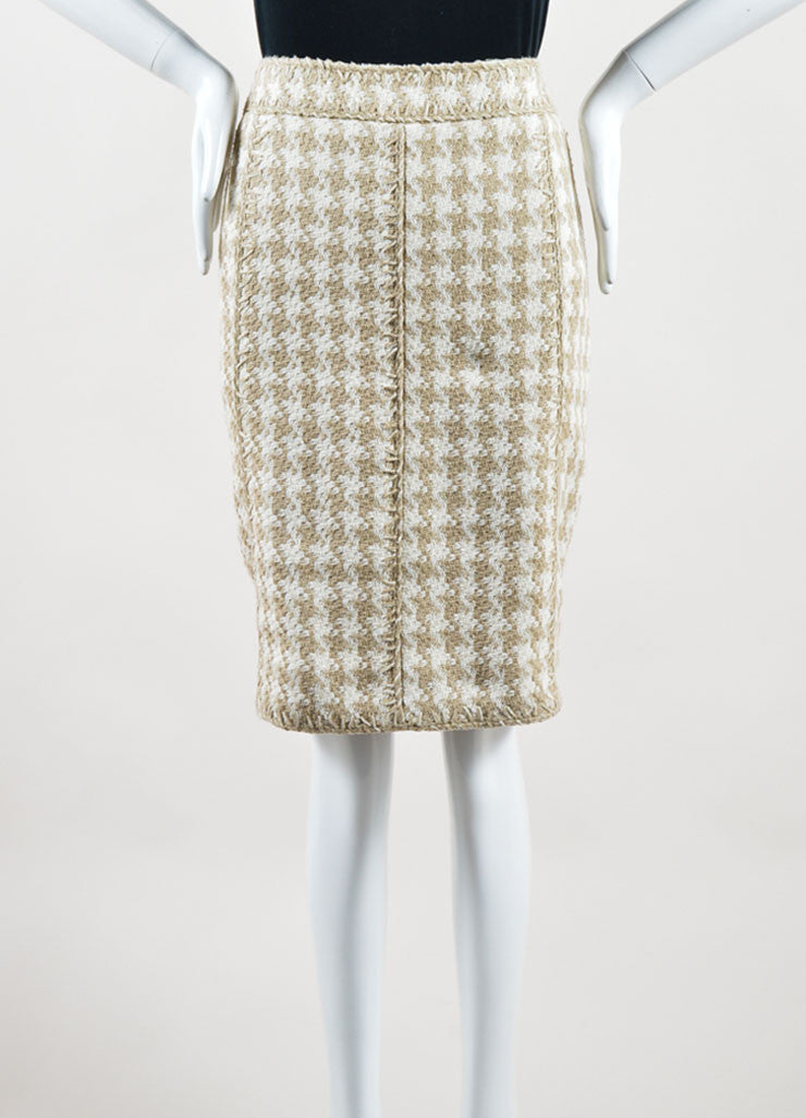 Chanel Taupe and White Silk Woven Houndstooth Pencil Skirt Frontview