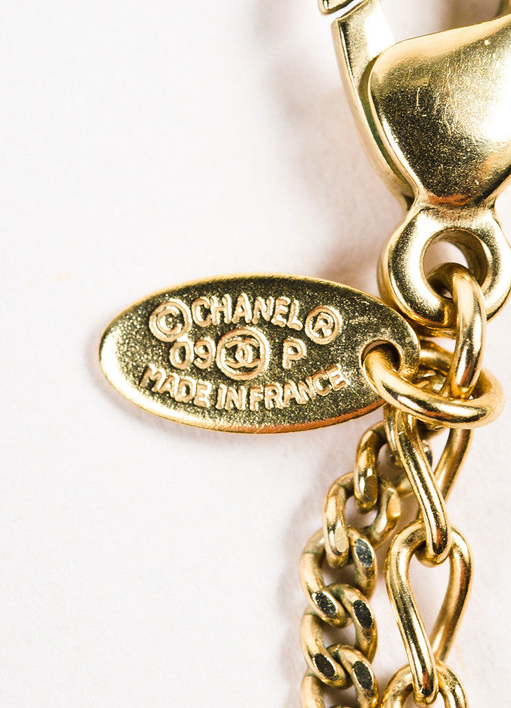 Gold Tone Chanel Double Mixed Link Chain 'CC' Logo Pendant Necklace Brand