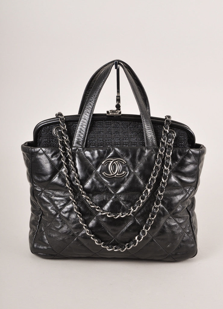 "Chanel Black Glazed Leather and Tweed ""CC"" Logo Chain Strap ""Portobello"" Latch Bag Frontview"
