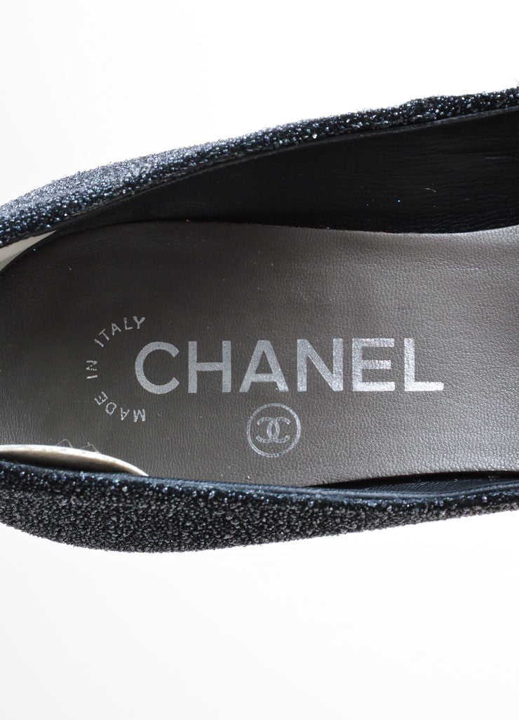 Chanel Black and Gray Round Toe Platform Pump Brand