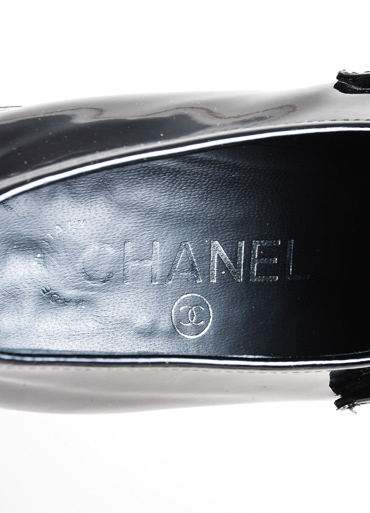 Black Chanel Patent Leather Pointed Toe Chunky Heel Loafers Brand