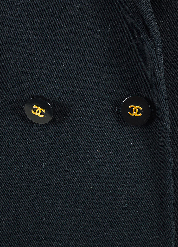 Chanel Black Twill Notch Lapel Double Breasted Blazer Detail