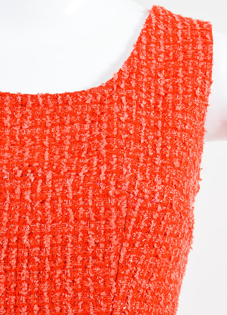 Red and Pink Chanel Boucle Tweed Sleeveless Sheath Dress Detail