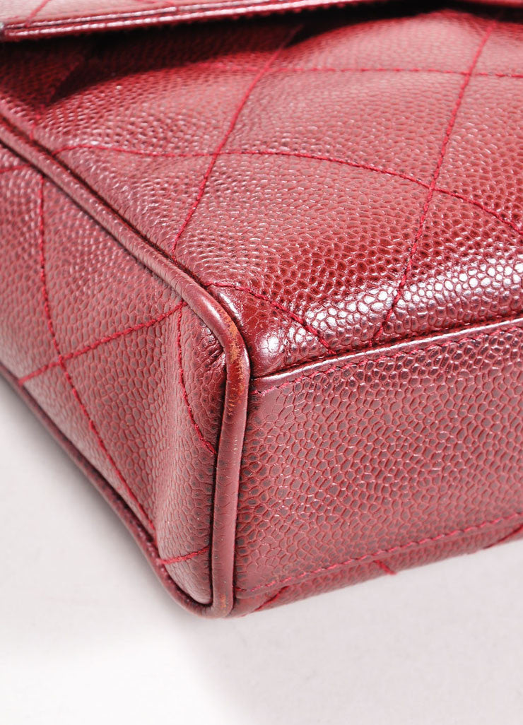 Chanel Burgundy Red and Gold Toned Caviar Leather Quilted Classic Flap Bag Detail