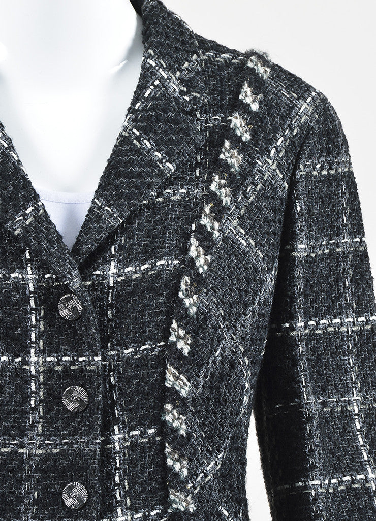Chanel Charcoal Black White Metallic Gold Check Tweed Jacket Detail