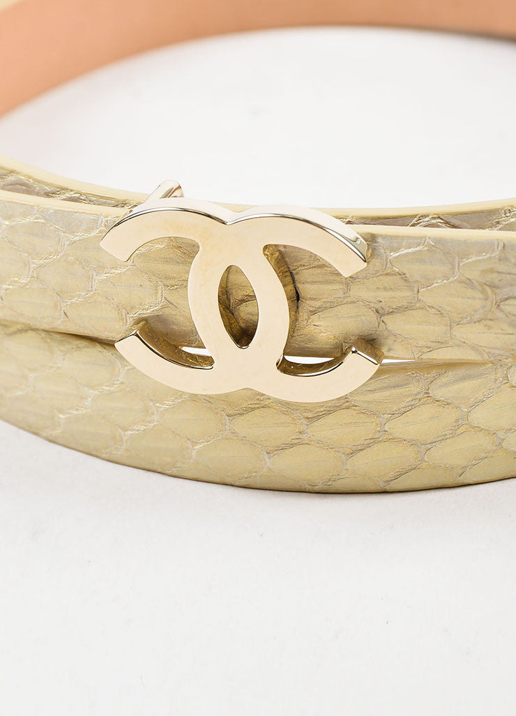 Chanel Gold Metallic Python Silver Toned 'CC' Buckle Thin Belt Detail