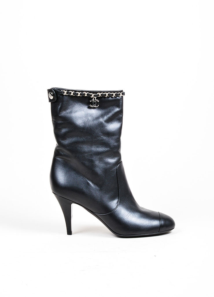 Black Leather Chain Trim Chanel 'CC' Logo Mid Calf Heeled Boots Sideview