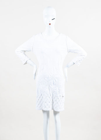 Chanel White Gathered Eyelet Detail Three Quarter Sleeve Stretch Dress Frontview