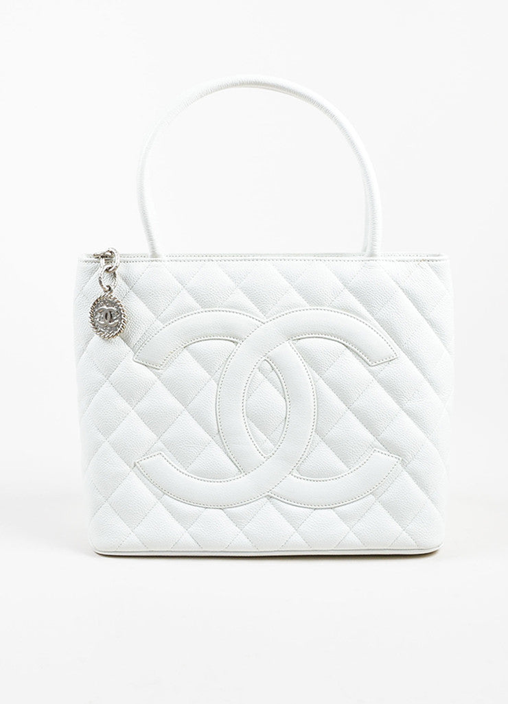 Chanel White Quilted Caviar Leather 'CC' Logo Silver Toned Medallion Tote Bag Frontview