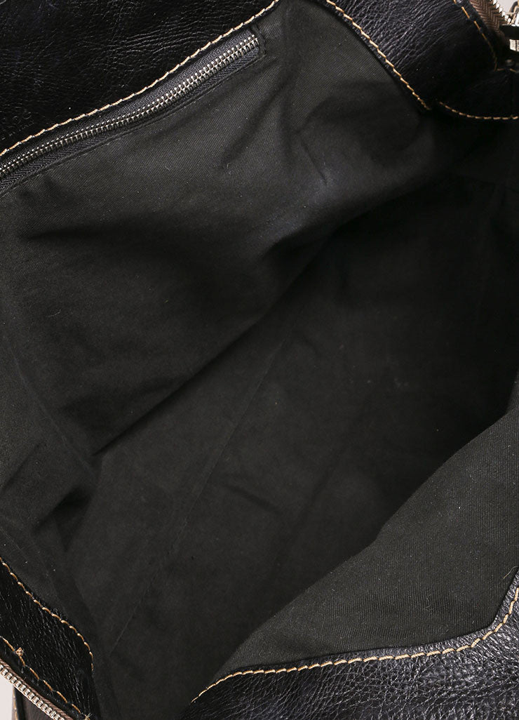 Black Grain Leather Oversized Embroidered Tote Bag