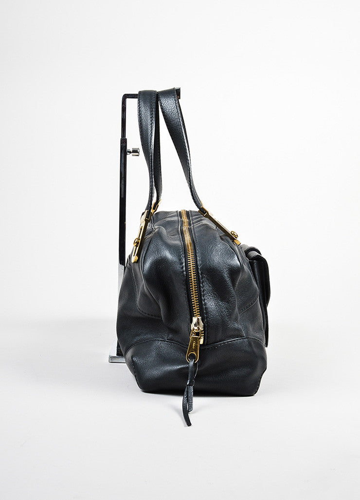Black Chloe Leather Stitched Toggle Handle Shoulder Satchel Bag Sideview
