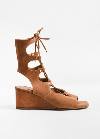 Chloe Brown Suede Lace Up Gold Toned Studded Gladiator Wedge Sandals Sideview