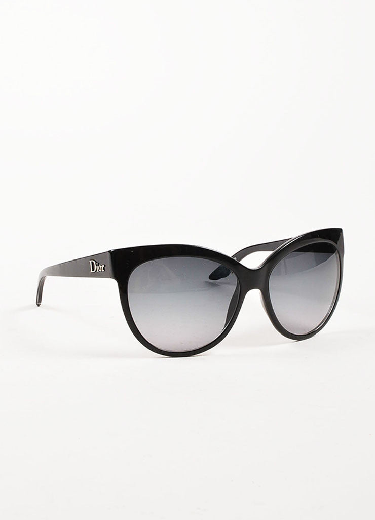 "Christian Dior Black Oval Cat Eye ""Dior Paname"" Sunglasses Sideview"
