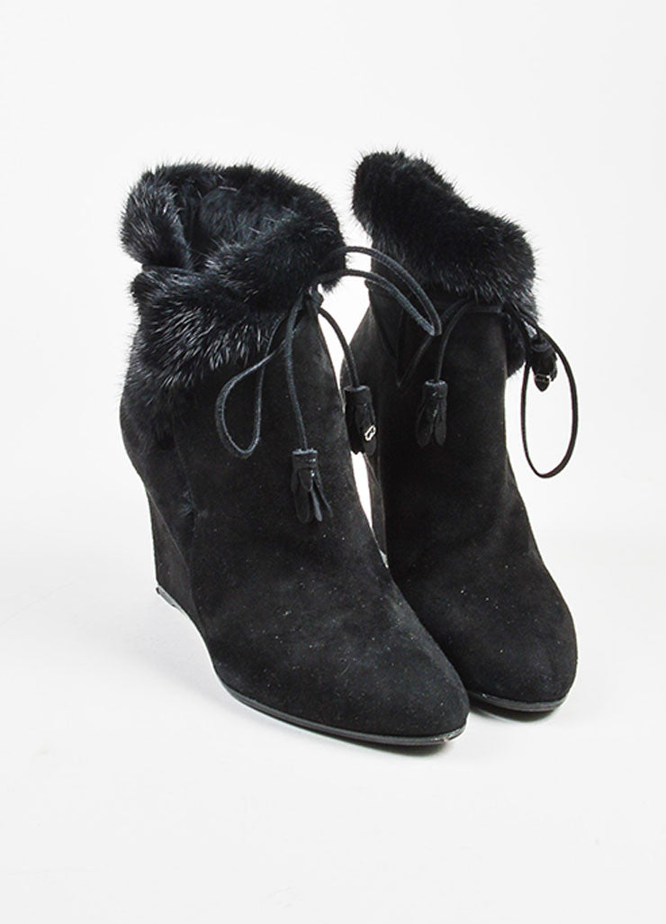 Christian Dior Black Suede Fur Lined Wedge Booties frontview