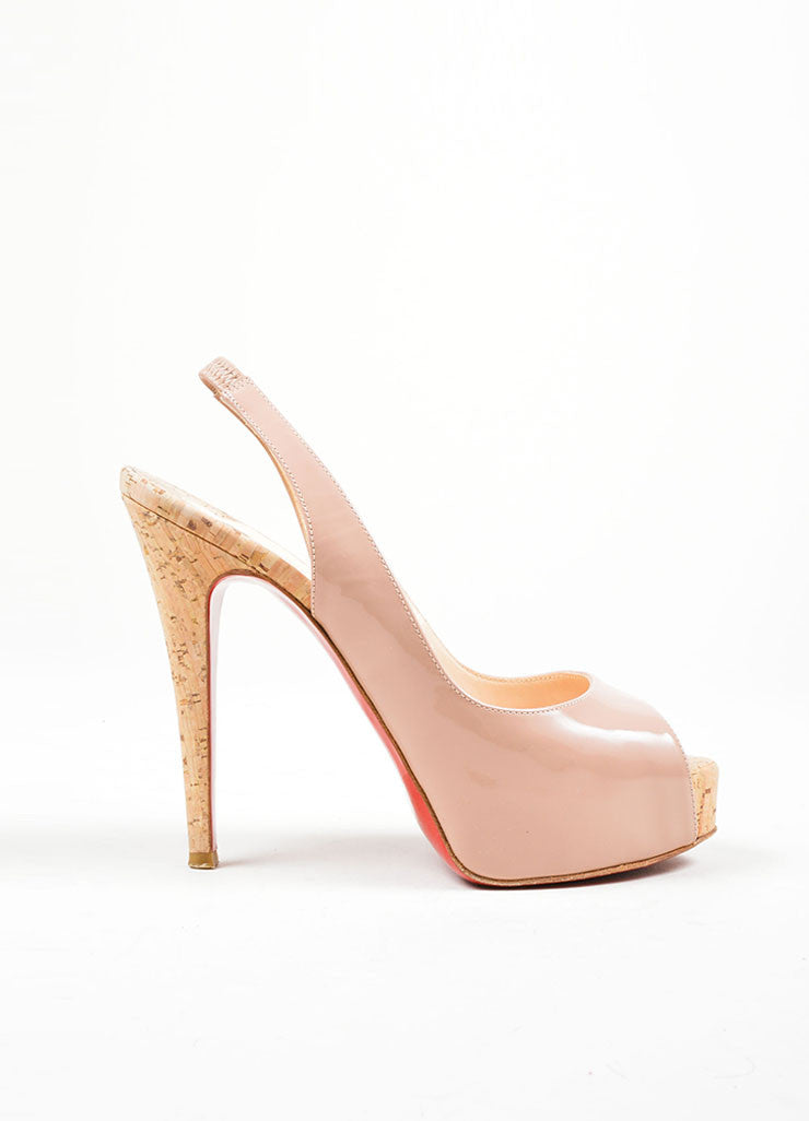"Nude Christian Louboutin Patent Leather Cork ""So Private"" Pumps Sideview"
