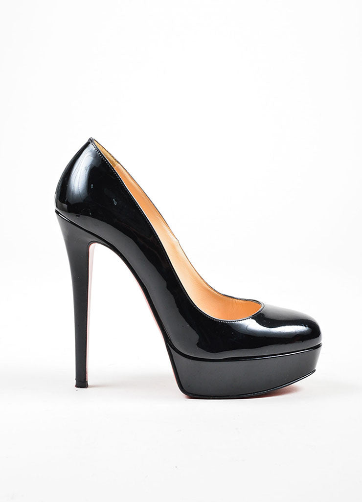 "Black Christian Louboutin Patent Leather ""Bianca 140"" Platform Pumps Sideview"
