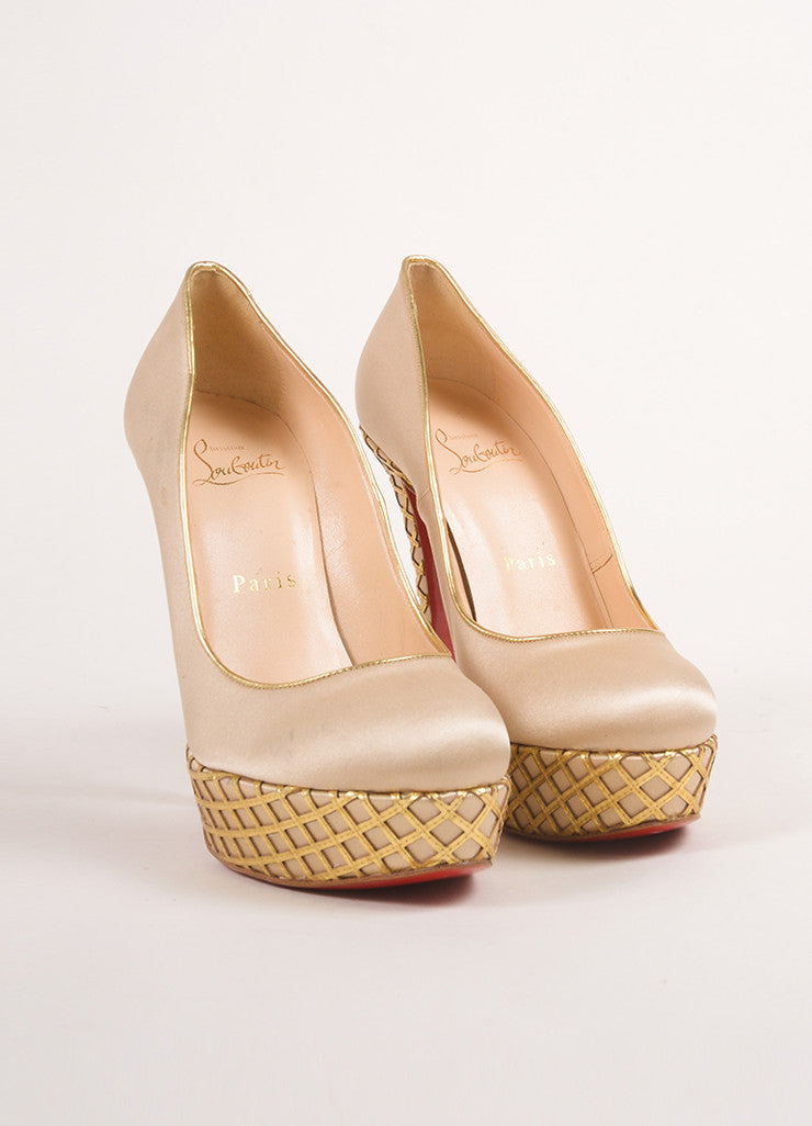 "Christian Louboutin Champagne and Gold Satin and Woven Leather Trim ""Bianca"" Pumps Frontview"