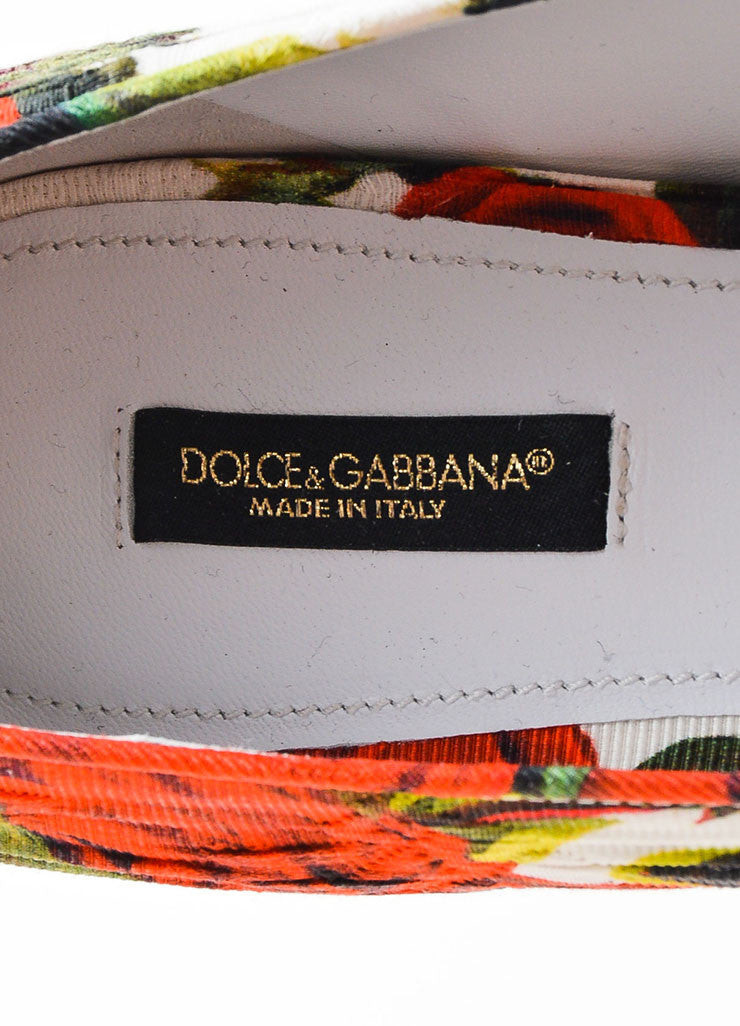 Red White Green Dolce & Gabbana Canvas Rose Print Flats Brand