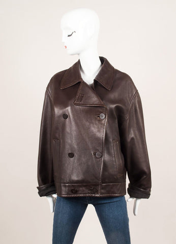 Donna Karan Dark Brown Leather Double Breasted Long Sleeve Jacket Frontview