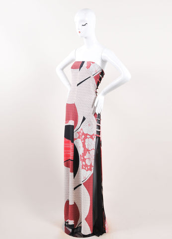 Emilio Pucci Black, Red, and Multicolor Silk Floral Strapless Maxi Dress Sideview