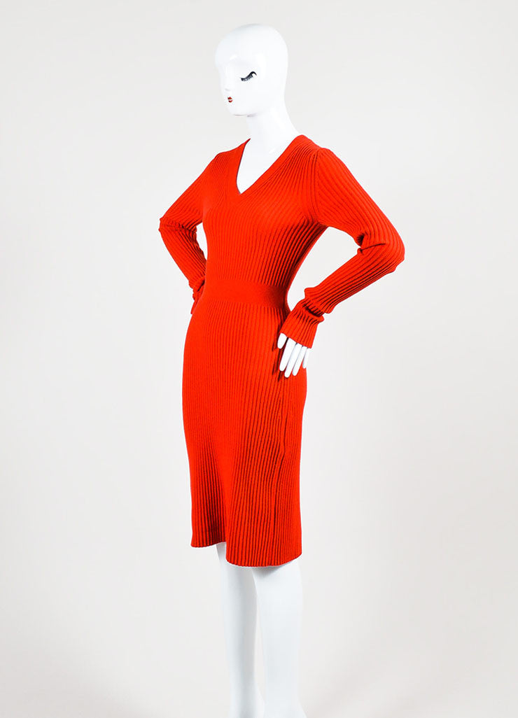 "Fendi ""Geranium"" Red Cashmere Rib Knit Long Sleeve V-Neck Sweater Dress Sideview"