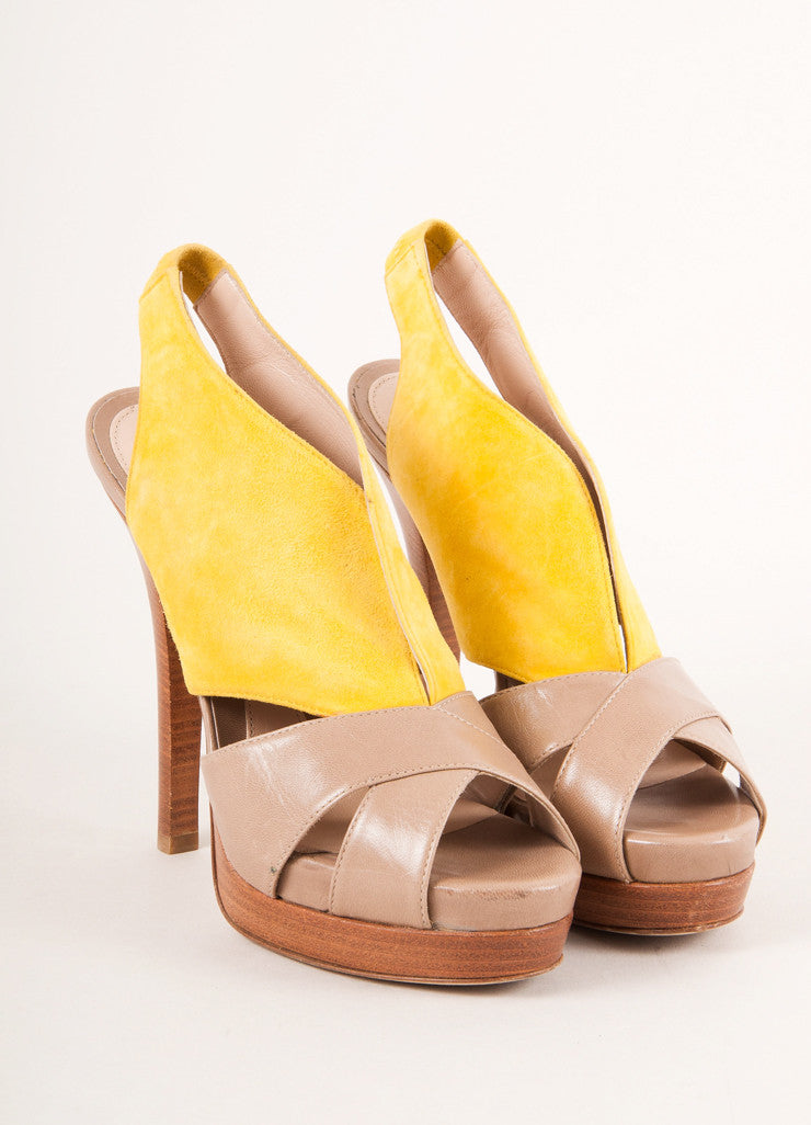 Fendi Yellow and Tan Suede Leather Cut Out Platform Sandals Frontview