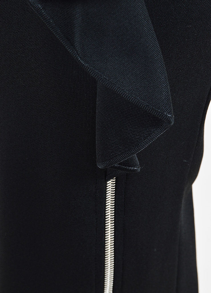 Black Givenchy Ribbed Stretch Crepe Ruffled Zipper Midi Skirt Detail