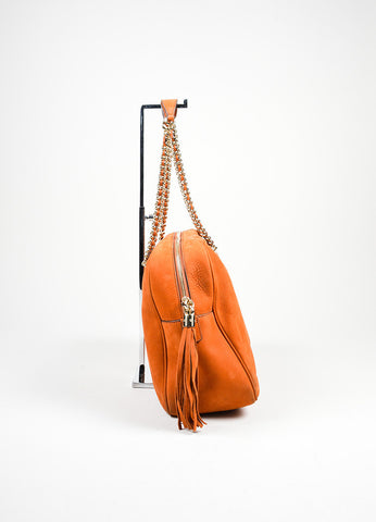 "Orange Gucci Nubuck Leather Chain Strap ""Soho"" Shoulder Bag Sideview"