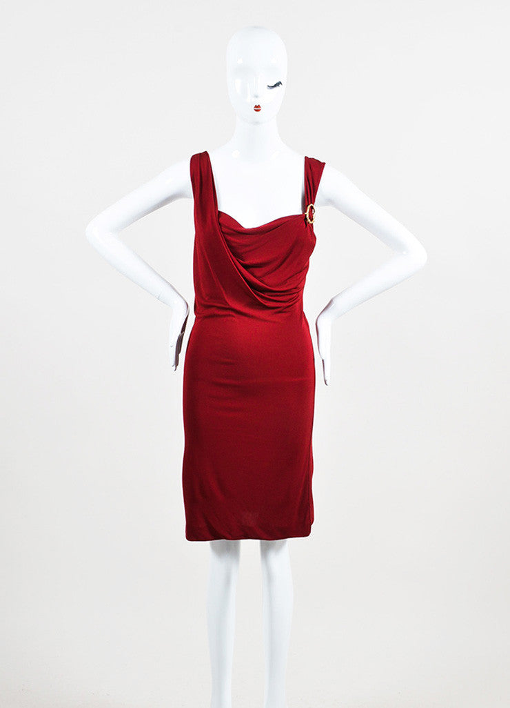 Gucci Maroon Red Jersey Gold Toned Horse Pin Sleeveless Dress Frontview