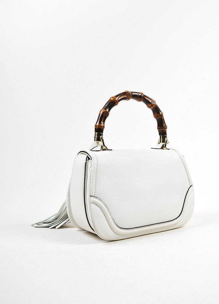 White Gucci Leather Bamboo Handle Shoulder Strap Tassel Bag Backview