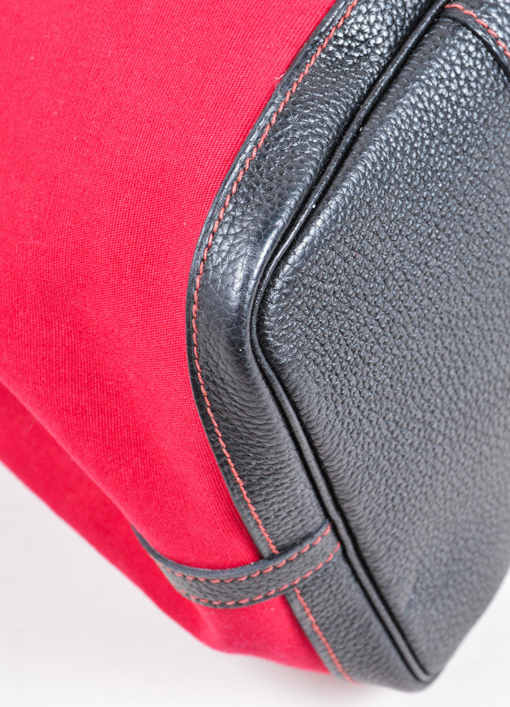"Hermes Red and Black Canvas Negonda Leather ""Garden Party GM"" Tote Bag Detail"