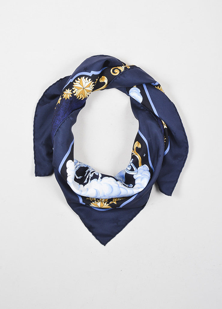 "Hermes Blue, White, and Tan Silk Mystical Horse Sky Print ""Cosmos"" 90cm Scarf Frontview"