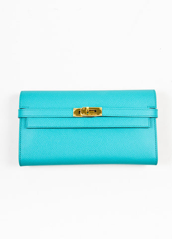 "Hermes Bleu Paon Teal Epsom Leather ""Kelly"" Long Money Holder Wallet Frontview"