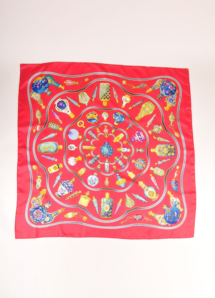 Hermes Red, Blue, and Gold Silk Perfume Bottle Print Scarf Frontview 2