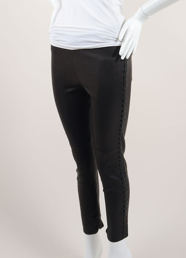 "Isabel Marant Black Lamb Leather Whipstitch ""Dayton"" Pants Sideview"