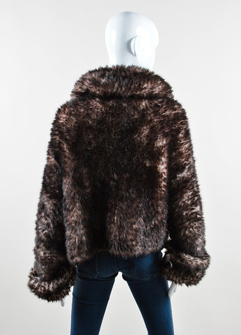 Issey Miyake Black and Brown Faux Fur Woven Collared Cropped Jacket Backview