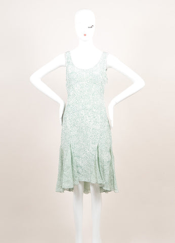 Jason Wu New With Tags Green and White Silk Sleeveless Handkerchief Hem Dress Frontview