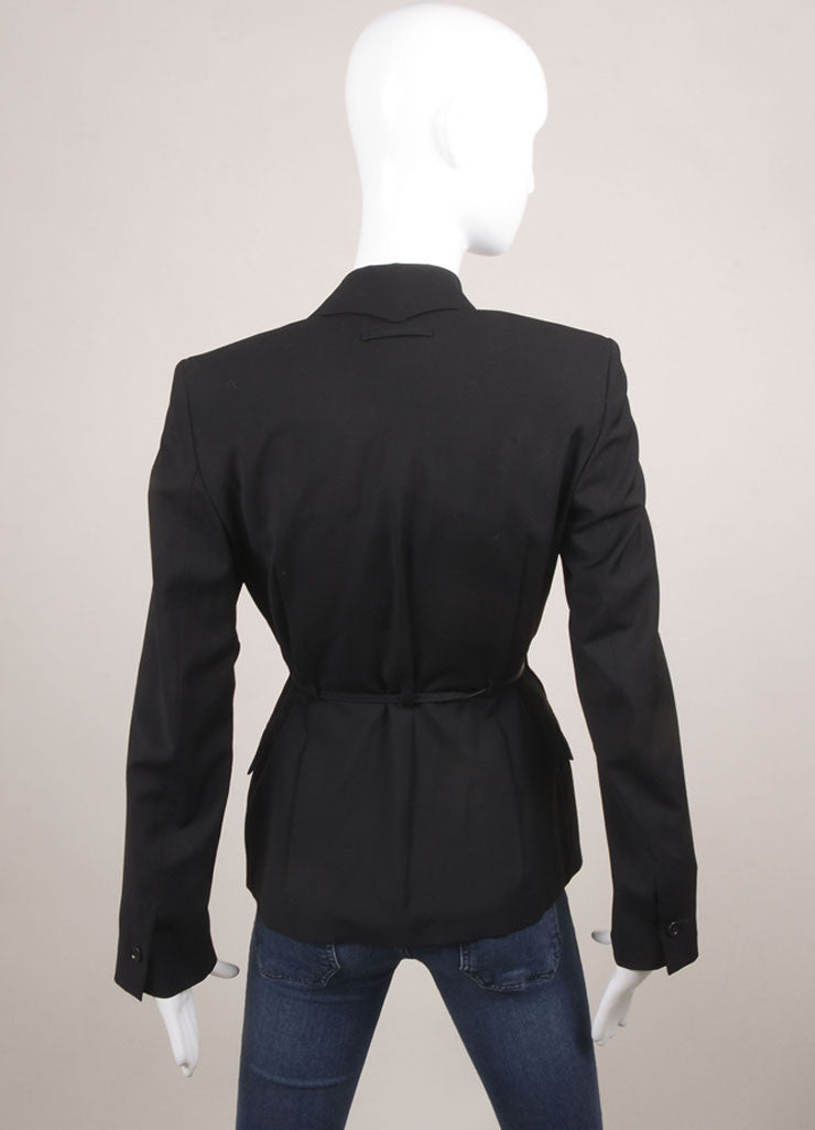 Jean Paul Gaultier Black Wool Belted Blazer Backview