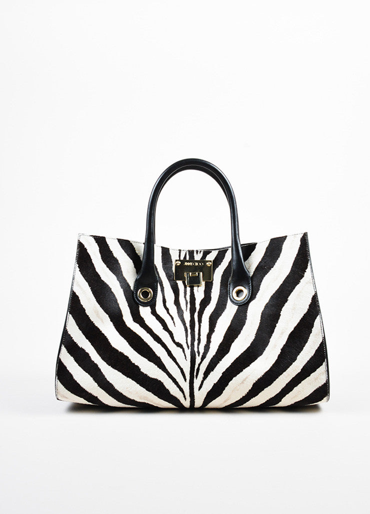 "Black and White Jimmy Choo Pony Hair Zebra Print ""Riley"" Tote Bag Front"
