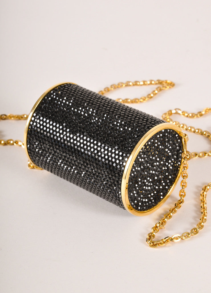 Judith Leiber Black and Gold Toned Crystal Rhinestone Mini Barrel Minaudiere Bag Backview