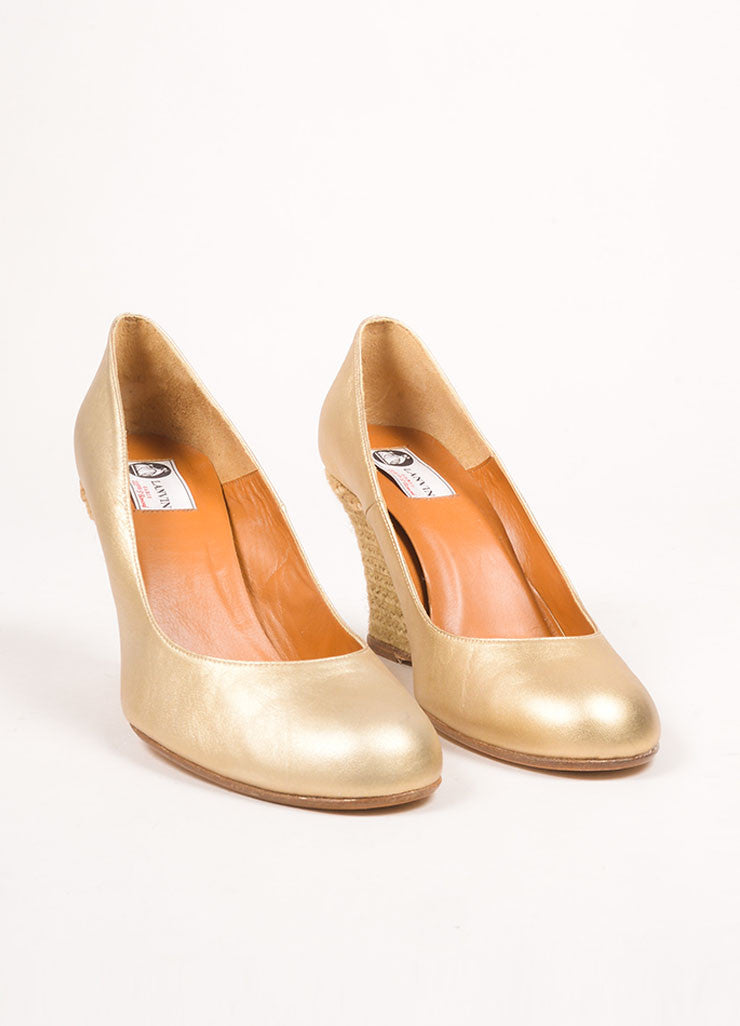 Lanvin Gold Leather Espadrille Wedges Frontview