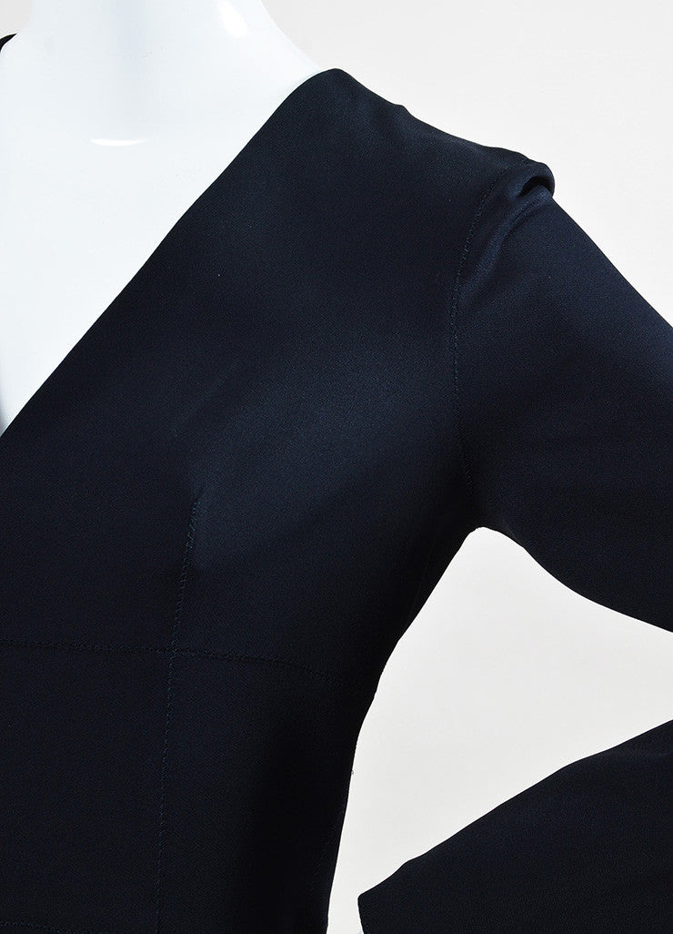 "Lanvin Navy Blue Long Sleeve V-Neck ""Uniform"" Dress Detail"