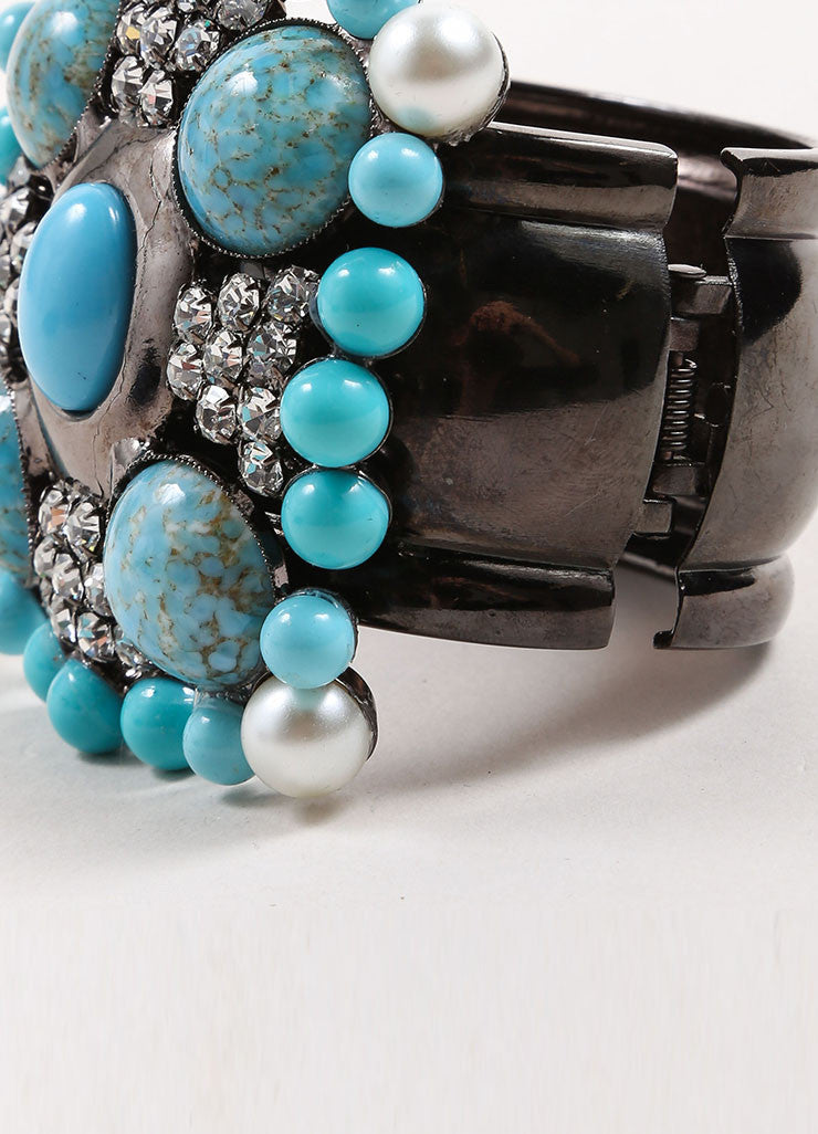 Lawrence Vrba Turquoise Blue and Gunmetal Grey Embellished Cross Cuff Bracelet Detail
