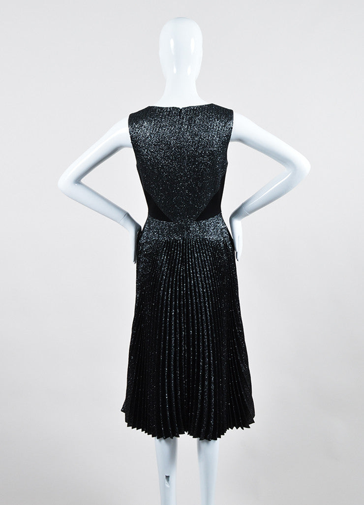 Silver and Black Metallic Lela Rose Pleated Sleeveless Dress Backview